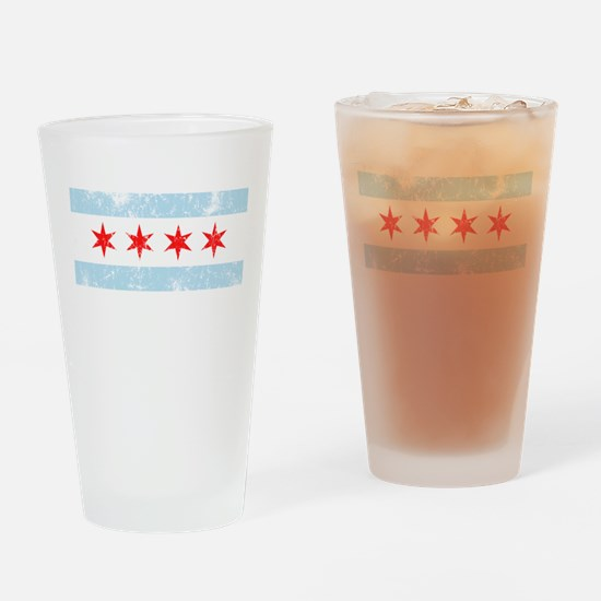 Chicago Flag Distressed Drinking Glass