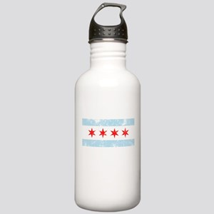 Chicago Flag Distressed Stainless Water Bottle 1.0