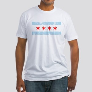 Chicago Flag Distressed Fitted T-Shirt