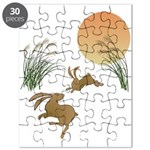 Moon, japanese pampas grass and rabbits Puzzle