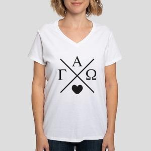 Gamma Alpha Omega Cross Women's V-Neck T-Shirt