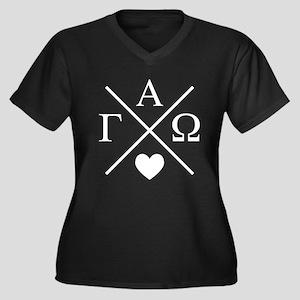 Gamma Alpha Women's Plus Size V-Neck Dark T-Shirt