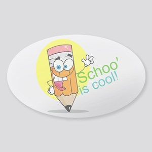 School is Cool Sticker (Oval)