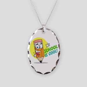 School is Cool Necklace Oval Charm