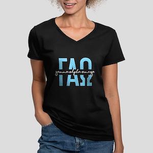 Gamma Alpha Omega Polk Women's V-Neck Dark T-Shirt