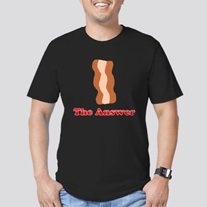 Bacon: The Answer Men's Fitted T-Shirt (dark)