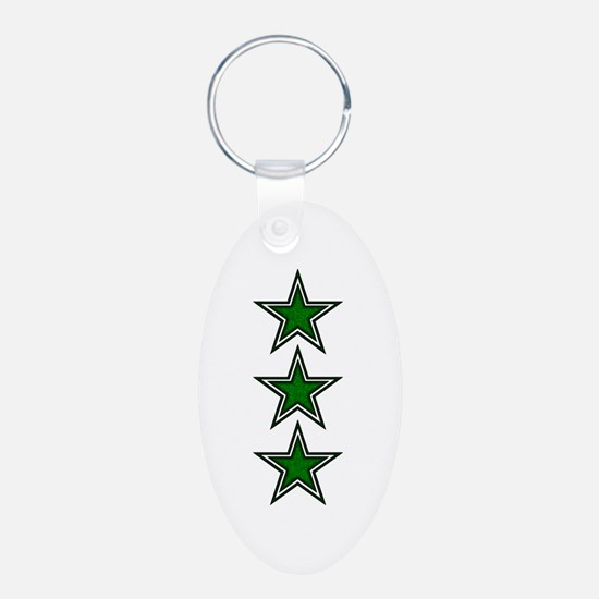 Green Star Belly Aluminum Oval Keychain