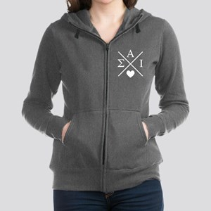 Sigma Alpha Iota Letters Cross Women's Zip Hoodie