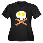 Breakfast Pirate Women's Plus Size V-Neck Dark T-S