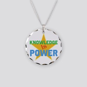 Knowledge is Power Necklace Circle Charm