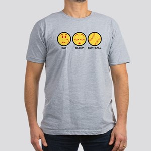 Eat Sleep Softball Men's Fitted T-Shirt (dark)