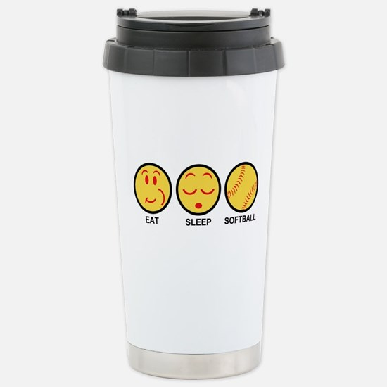 Eat Sleep Softball Stainless Steel Travel Mug