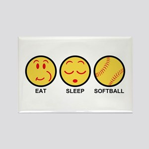 Eat Sleep Softball Rectangle Magnet