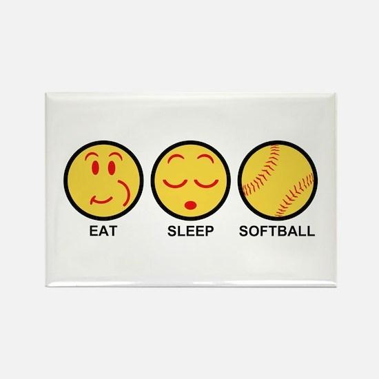 Eat Sleep Softball Rectangle Magnet