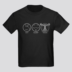 Eat Sleep Train Kids Dark T-Shirt