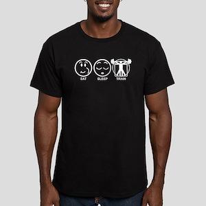 Eat Sleep Train Men's Fitted T-Shirt (dark)
