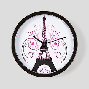 Eiffel Tower Gradient Swirl Wall Clock