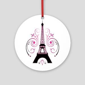 Eiffel Tower Gradient Swirl Ornament (Round)