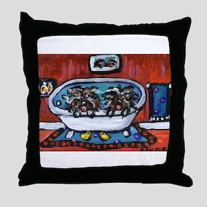 Hungarian Puli whimsical bath Throw Pillow