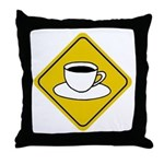 Coffee Crossing Sign Throw Pillow