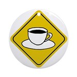 Coffee Crossing Sign Ornament (Round)