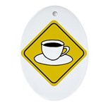 Coffee Crossing Sign Oval Ornament