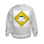 Coffee Crossing Sign Kids Sweatshirt