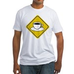 Coffee Crossing Sign Fitted T-Shirt