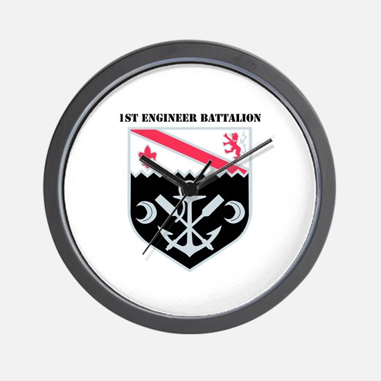 DUI - 1st Engineer Bn with Text Wall Clock