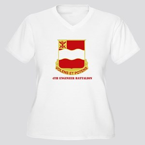 DUI - 4th Engineer Bn White T-Shirt with Text Wome