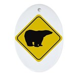 Polar Bear Crossing Ornament (Oval)
