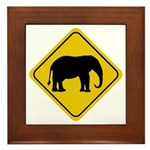 Elephant Crossing Sign Framed Tile