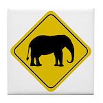 Elephant Crossing Sign Tile Coaster