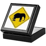 Elephant Crossing Sign Keepsake Box