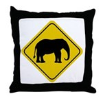 Elephant Crossing Sign Throw Pillow
