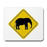 Elephant Crossing Sign Mousepad