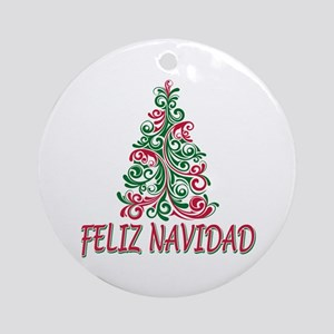 feliz navidad ornament round - Puerto Rican Christmas Decorations