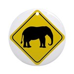 Elephant Crossing Sign Ornament (Round)