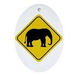 Elephant Crossing Sign Oval Ornament