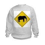 Elephant Crossing Sign Kids Sweatshirt