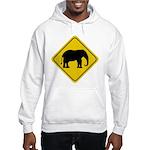 Elephant Crossing Sign Hooded Sweatshirt