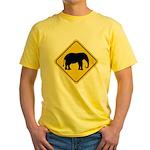 Elephant Crossing Sign Yellow T-Shirt