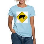 Elephant Crossing Sign Women's Pink T-Shirt