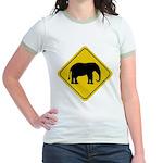 Elephant Crossing Sign Jr. Ringer T-Shirt