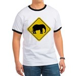 Elephant Crossing Sign Ringer T