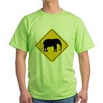Elephant Crossing Sign Green T-Shirt