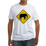 Elephant Crossing Sign Fitted T-Shirt