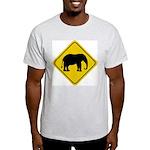 Elephant Crossing Sign Ash Grey T-Shirt