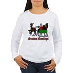 Christmas Santa Sleigh Women's Long Sleeve T-Shirt