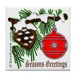 Christmas Red Ball Tile Coaster